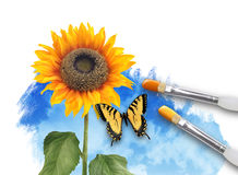 Painting Nature SunFlower with Clouds. An artist paintbrush is painting a spring, summer nature scene on a white isolated background. A sunflower is growing from Stock Images