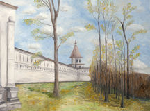 Painting of New Jerusalem Monastery. An illustration of the walls of the New Jerusalem Monastery, Russia, Istra city Stock Photography