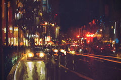 Painting of night street with colorful lights. Cityscape Royalty Free Stock Photography