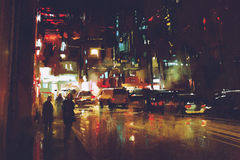 Painting of night street with colorful lights. Illustration Royalty Free Stock Photography