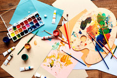 Painting objects. Group of objects for painting on wooden table Royalty Free Stock Image