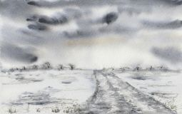 Free Painting Of A Landscape With Stormy Clouds And A Road. Stock Photos - 102227123