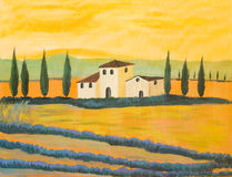 Painting Of A Tuscan Landscape Stock Photography