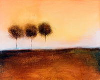 Painting Of Of 3 Trees Royalty Free Stock Images