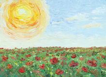 Painting oil on canvas The sun over poppy field Stock Images