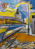 Painting with oil pastel Towers of the ancient  Kremlin at sunset in autumn Stock Image