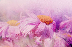 Painting. Oil texture. Flower background. Daisy lilac background. Windy weather Stock Images