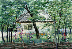 Painting - old house in the village. Painting - authentic village house in Ukraine Royalty Free Stock Photo