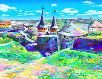 Painting of old medieval castle in Kamenetz-Podolsky Royalty Free Stock Image