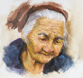 Painting of an old woman Royalty Free Stock Photo