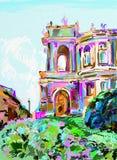 Painting of opera theater, Odessa, Ukraine Royalty Free Stock Photos