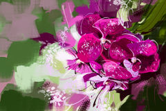 Painting Orchid purple on the trees in the garden - Stock Image Stock Photos