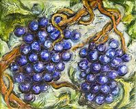 Ripe Red Grape Illustration Painting. Painting of organic ripe red grapes in a vineyard Royalty Free Stock Photography
