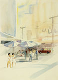 Painting original colorful of market town changmai inThailand. Stock Photography