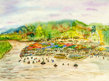 Painting original landscape colorful of festive summer celebration day. Watercolor painting original landscape colorful of festive summer celebration day at Stock Image