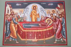 Painting on the Orthodox Church at Capernaum Royalty Free Stock Photos