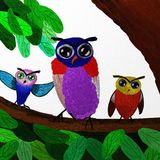 Painting owl standing on the tree Royalty Free Stock Photography