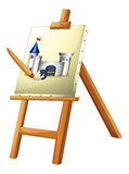 A painting with a paint brush Royalty Free Stock Image