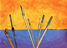 Painting of paint brushes as reeds against an imaginary background. Acrylic painting showing paintbrushes as reeds against an imaginary background of a fiery vector illustration