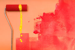 Painting with paint roller Royalty Free Stock Image
