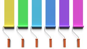 Painting with paint roller brushes 3d rendering Royalty Free Stock Photos