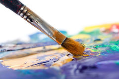 Painting with paintbrush Royalty Free Stock Photography