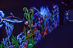 Painting painted with fluorescent paint in the Sochi aquapark Stock Images