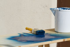 Painting. Painter preparing for painting on site Royalty Free Stock Photography