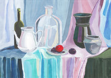 Painting with paints, still life with jugs Royalty Free Stock Photos