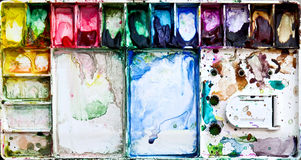 Painting palette box with dirty watercolor Stock Photo