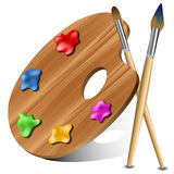 Painting palette. With colors and painting brushes  on white eps10 Stock Photos