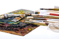 Painting pallete and brushes Stock Image
