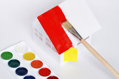 Painting paper house Royalty Free Stock Photos
