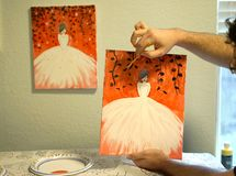Painting party at home demonstration Royalty Free Stock Photo