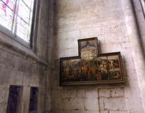 Painting: The Passion of Christ of the Collegiate Church of Notre-Dame in Vernon. Normandy, France. royalty free stock photography