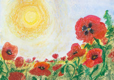 Painting pastels and watercolor on paper `Poppies under hot sun`. Sketch in the open air Stock Photos
