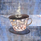 Painting  patterned cups of steaming coffee or tea Stock Photos