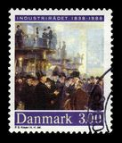 Painting by Peder Severin Kroyer, danish painter. DENMARK - CIRCA 1988: stamp printed by Denmark, shows `Men of Industry` detail, painting by Peder Severin royalty free stock photo