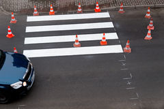 Painting of pedestrian crossing Stock Photo