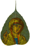 Painting on Peepal Leaf - Madonna Blessing Stock Photo