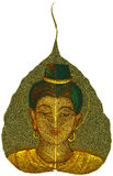 Painting on Peepal Leaf - Young Woman Royalty Free Stock Photography