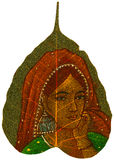 Painting on Peepal Leaf - Young Woman Stock Photography