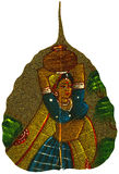 Painting on Peepal Leaf - Young Woman Stock Photo