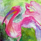 Painting of pelicans. My own oil and pallet knife painting painting of pelicans Stock Photography