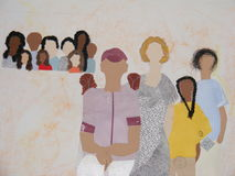Painting. Of people with no faces, real hair used Stock Photos