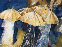 Painting of people with umbrellas. Painting in watercolor and wax-crayon on paper of people in raincoats walking in the rain, holding an umbrella Stock Photos