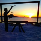 Painting the Perfect Sunrise. Beauty is the Common Denominator sculpture on Great Island New Hampshire Stock Photos