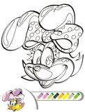Painting the picture of the bunny. Coloring the smiling bunny. Cartoon image of a bunny, color and black and white versions Stock Illustration