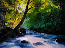 Painting, picture oil painting on a canvas. Landscape, mountain river. Abstract drawing, watercolor painting, wallpaper royalty free illustration