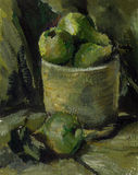 Painting. Picture oil paints. Pears. Still life. Royalty Free Stock Photo